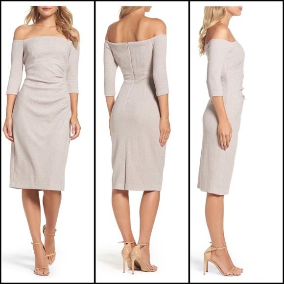 0d7e6b640396 Eliza J Dresses & Skirts - Eliza J Off the Shoulder Sheath Dress- Champagne